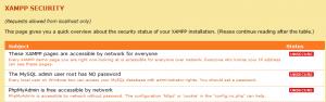 XAMPPのセキュリティ画面