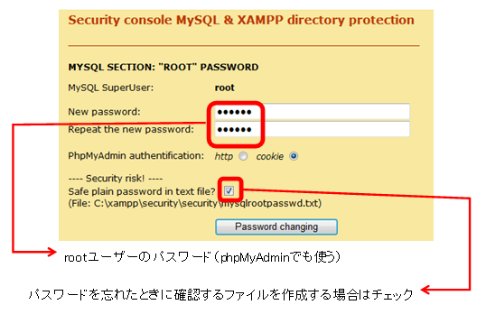 MySQLのrootユーザーのパスワード設定