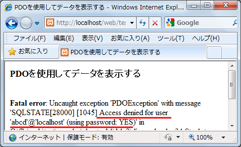 Access denied for user 'abcd'@'localhost'